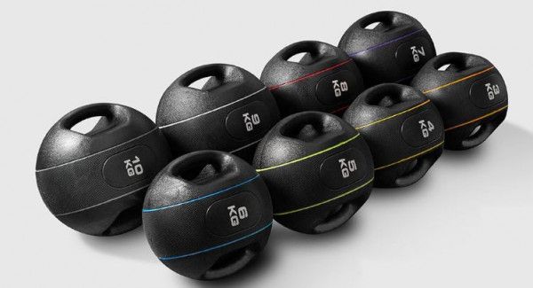 Xenios Fitness Rubber Med Ball mit Griffen
